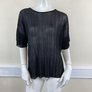 Warehouse Ladies Black Pleated Plisse Short Sleeved Blouse Top UK Size 12