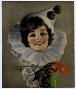 Fine Albert Neville Pin-Up Print Pretty Brunette Unmasked Clown is Pierrette