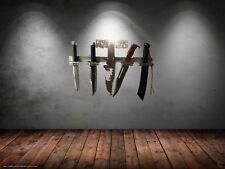Rambo Messer Set 1-2-3 und 4 + Edelstahl-Design-Wand-Halterung von Arizona Outle