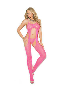 Lace Suspender Bodystocking & G-String Adult Woman Clothing Neon Pink