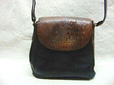 Brahmin Handbag Purse Shoulder Bag Leather Croc Flap Front Top Handle Brown Blk