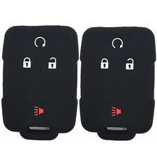 A Pair Black Rubber Keyless Entry Key Fob Case Skin Cover for Chevrolet Colorado