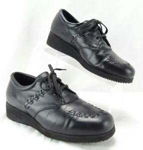DREW Black Leather Lightweight Orthotic Comfort Shoes Women 9.5 D Vintage Vibram