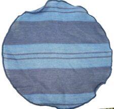"$60 ALEXANDER OLCH Navy & Blue Stripe Denim Cotton Pocket Round 11"" USA NWT"