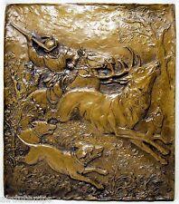 PLAQUE sculpture CHASSE RENAISSANCE signée H. KAHLE ges. gesch. ALLEMAGNE