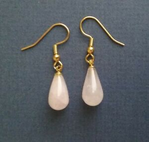 Rose Quartz Drop Earrings (made by seller) Gold Plated Surgical Steel Wires
