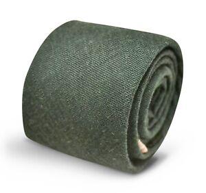 Frederick Thomas Designer Mens Tie - Dark Forest Green Plain Classic Textured