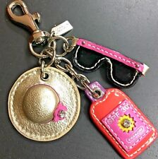 NEW Coach Leather Beach Hat Sunglasses Mix Charms Keychain Keyfob
