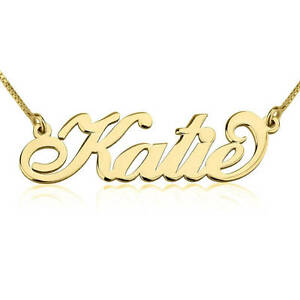 14K Solid Gold Carrie Style Nameplate - Customized Any Name Pendant