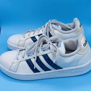 Adidas Cloud foam Advantage Women's  8.5 White/Blue 3 Stripe Shoes HWI 28Y001