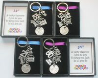 Sixpence Keyring Keepsake Gift Birthday Male and Female 30th 40th 50th 60th etc