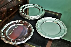 Solid Silver Plates Set of 12 Heavyweight - Italy 1960s