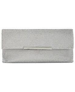 NEW INC Hether Shiny Silver Mesh Clutch Handbag with Chain Strap NWT!