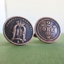 SWEDEN 1882 Coin Cuff Links - Antique 2 Ore Bronze Repurposed Swedish Coins