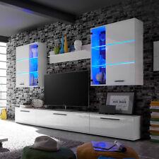 Anbauwand Wohnwand 2 Millo Front MDF weiß Glanz mit LED-Beleuchtung