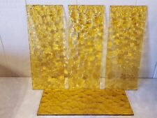 """4 Vintage Textured Gold Glass Lamp Replacement Panels 10"""" x 4"""""""