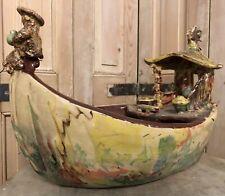 Jonque Bateau Terre Cuite Art Contemporain Vase Pot Vide Poche Coupe a Fruit