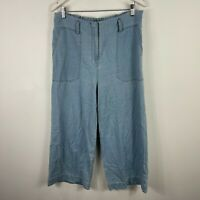 Sussan Womens Pants 14 Blue Chambray Straight Elastic Waist Zip Closure