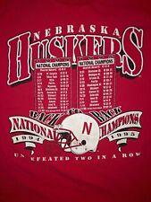 Vintage 1995 Nebraska Cornhuskers Football T-Shirt Adult L Red National Champs