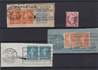 EARLY FRENCH STAMPS CANCELLED ON PIECE AND 80C ROSE STAMP  REF 3026