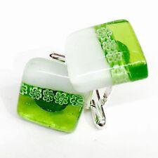 New Unique SOMA LINK Cufflinks. Green & White Glass & Silver Murano Millefiori.