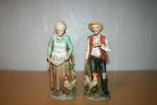 Homco Old Woman and Man Figurines with Chickens, Eggs, & Rooster #1434
