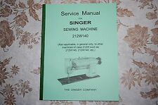 Service Manual for Singer Sewing Machines Class 212W 212W140 212W145 212W146 etc