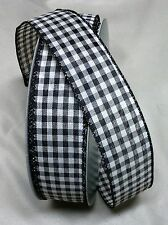 "5 yds COUNTRY GINGHAM TEA-DYE CHECK WIRE EDGE RIBBON 1 1/2"" w choice of 4 colors"