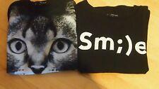 2x Sweatshirt Katze + Smi)e Bloggerlook schwarz Tally Weijl Gr. S Paket