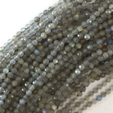 """3mm faceted gray labradorite round beads 15.5"""" strand"""