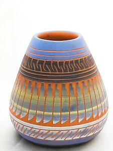 Vintage Navajo Whitegoat & Benally Etched Pottery Vase Signed