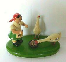 Vintage Erzgebirge Ddr Goose Girl Herder 2 Geese Putz Gahlenz Germany Wooden