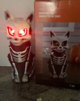 "Halloween Lighted Plastic Blowmold Black Cat Animated Skeleton Blow Mold 15"" NEW"