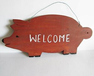 "Handmade Painted Wood Country Primitive Pig Welcome Hanger 18"" FREE SH"
