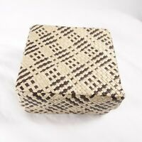 Vintage Basket Box Brown and Tan Weaved Square Small Basket With Lid