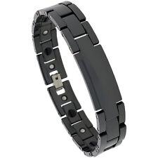 Black Tungsten Carbide Ceramic Magnetic ID Bracelet
