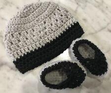 Handmade Crochet Baby Hat booties set Newborn 0- 3 months Grey Black Unisex