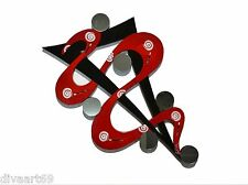 Abstract Twisted Red & black Mirror, Wall Sculpture wall decor, 48x31 Red Swirl