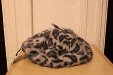 H&M Furry Painter Hat Leopard Grey Super soft One Size