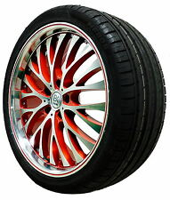 "4 20"" RED Polished Alloy Wheels Tyres 2553520 VW T5 T6 Transporter Van 5x120 x4"