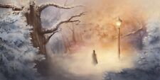 Lady In The Park At Night Winter Trees Painting Decor Art Poster/Canvas Picture
