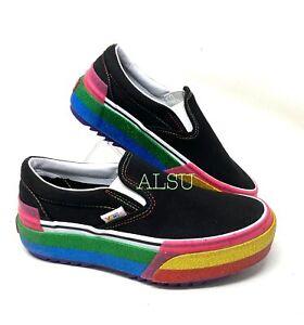 VANS Classic Slip-On Women's Platform Glitter Black Rainbow Sneaker VN0A4TZVWW1