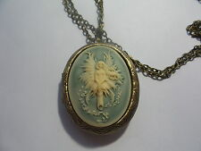 GUARDIAN ANGEL FAIRY CAMEO LOCKET NECKLACE BRONZE
