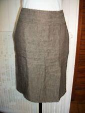 Jupe courte habillé 100% lin marron 1.2.3.taille 40 doublé fendue devant