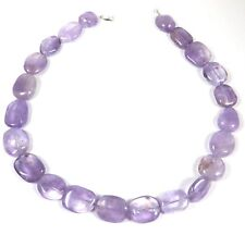SIGNED FP STERLING SILVER & CHUNKY PURPLE AMETHYST POLISHED GEMSTONE NECKLACE