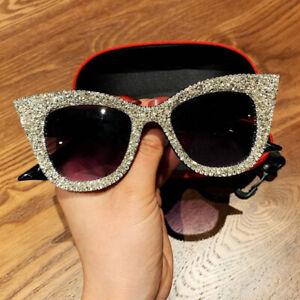 2021 Design Cat Eye Rhinestone Sunglasses Women Fashion Oversized Shades UV400