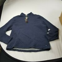 Tailor Vintage  Men's Sweater 1/4  Zip XL  long sleeve blue quilt  slpd