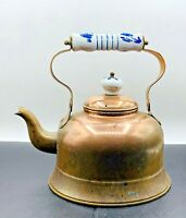 Vintage Copper Tea Pot Kettle Porcelain Handle Knob And Cap Made in Portugal