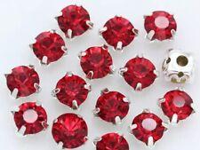 5mm Sew On Crystal Rhinestones 100 pcs SS24 Light Siam Red Birthstone July