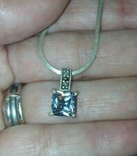 925 Sterling Silver Clear Princess Cut CZ Pendant Serpentine Chain Necklace